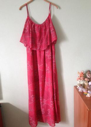 Стильное коралловое макси платье сарафан