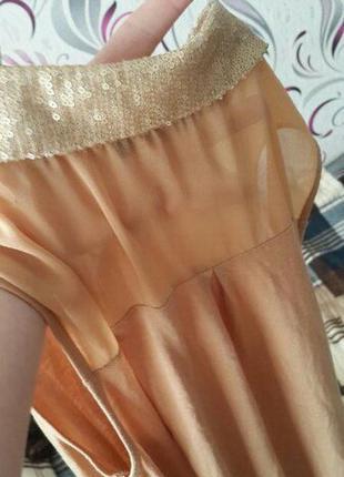Блузка, бежевая, с сеточкой, паетки, длинная