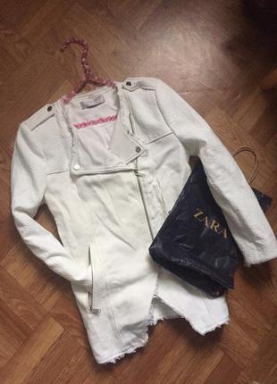 Белое пальто косуха zara + вещь в подарок