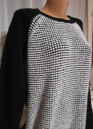 Свитер-оверсайз. трендовый чёрно-белый свитер.