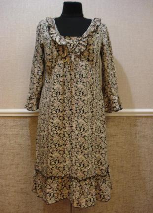 Летнее повседневное платье свободного кроя с принтом подойдет для беременных