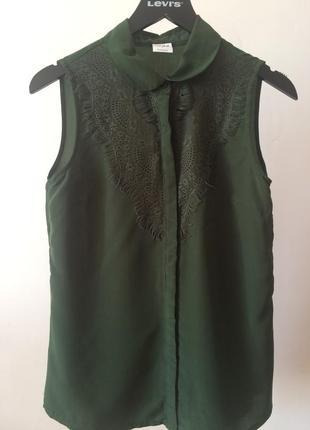 Шифоновая блуза зеленого цвета