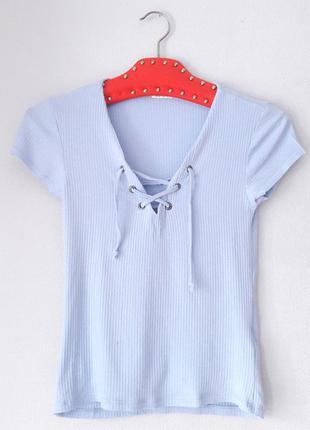 Miss selfridge футболка в рубчик на шнуровке голубая s m размер