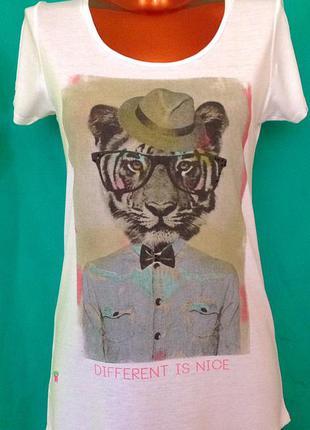 """Белая с принтом""""тигр в шляпе"""" футболка от """"mango"""""""
