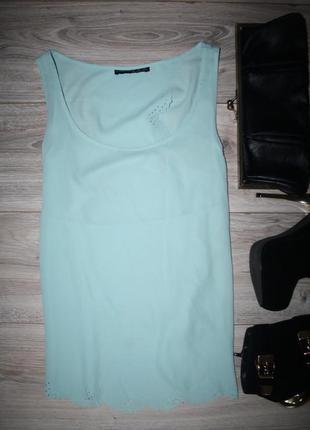 Великолепная шифоновая мятная блуза с красивой отделкой