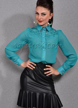 Бомбезная бирюзовая блуза