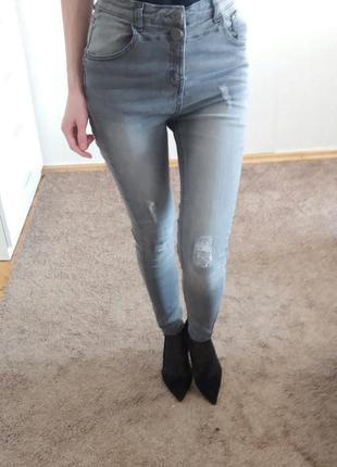 Джинсы, джинсы скини,высокие джинсы, джинсы с высокой талией, модные рваные джинсы