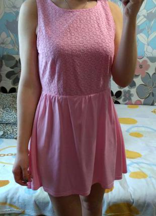 Милый хлопковый сарафанчик на лето розовый