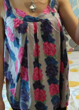 Просторная маечка блуза в розы, р-р 10, можно на беременную s-ку