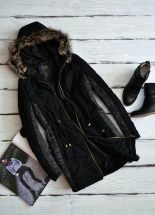 Парка \ пальто - куртка на весну с капюшоном и вставками по бокам