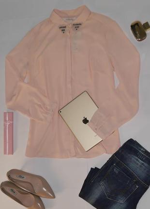 Элегантная блузка рубашка нежно-розового цвета reserved