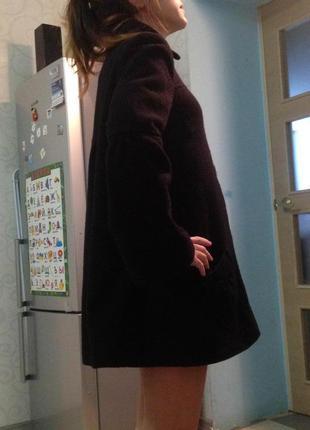 Шерстяное пальто трапеция, а-силуэт