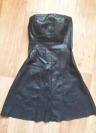 Платье кожанное zara, черное