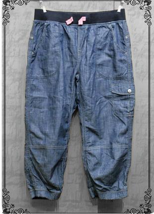 Легкие,свободные джинсовые капри на резинке,р.xs-s