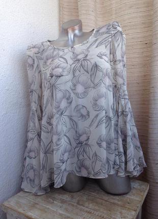 Блуза в цветочек розовая пудровая молочная кремовая разлетайка весна top shop