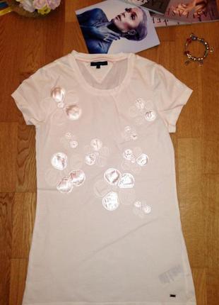 Стильная белоснежная фирменная футболка коттон от tommy hilfiger оригинал