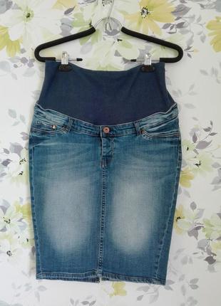 Стильная юбка миди джинсовая для беременных разм. м