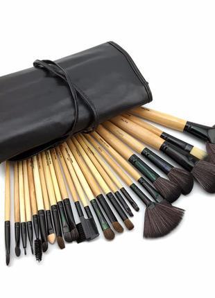 Шикарный набор кистей для макияжа в чехле 24 шт., борсучий ворс