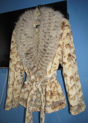 Новинка роскошная норковая шуба, с шикарным воротом из лисы, расшитая по типу кафтана