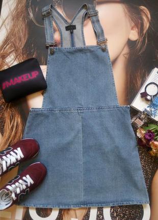 Очень крутой стильный джинсовой сарафан /комбез /от topshop размер l-m