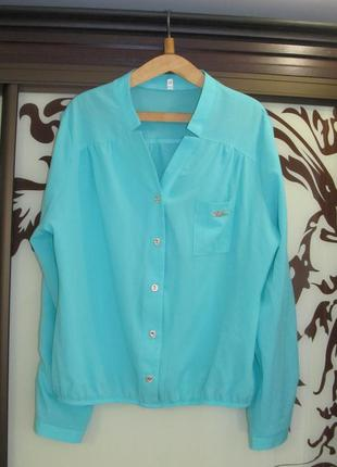 Мятная шифоновая блуза