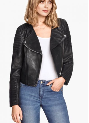 Кожаная куртка косуха h&m premium