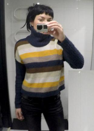 Полосатый укороченный свитер only c высокой горловиной, размера s