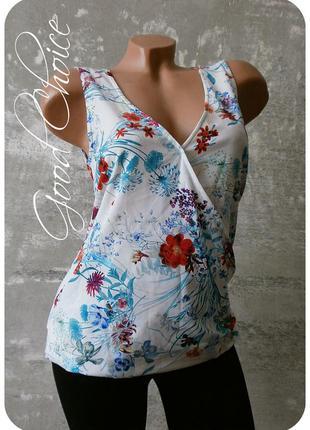 Очаровательная креп-шифоновая блуза на запах в красочный цветочный принт/индонезия