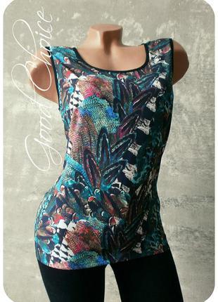 Креп-шифоновая блуза с красочным принтом с пуговками на спинке индия/индия