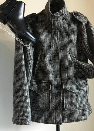 Твидовое пальто серое с черным gap с двумя карманами весеннее тренд 2017