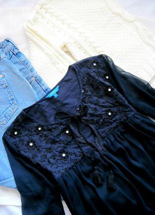 Воздушная романтичная блуза с кружевом и кисточками next