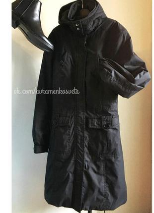 Плащ куртка парка h&m весенняя с капюшоном длинный приталенный черный синтепон утеплен