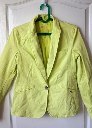 Джинсовый пиджак сочного зеленого цвета