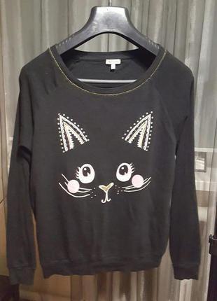 Крутой свитер с котиком от river island - 14 р-р - можно и на 16