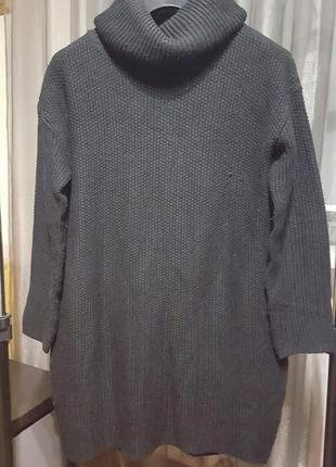 Стильный вязаный удлиненный свитер, платье h&m - размер м, я носила и на л - или на 12, 14 р-р