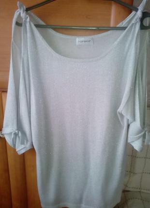 Кофта блуза с вырезами на рукавах