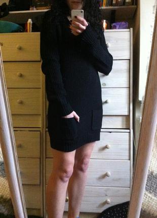 Вязаное платье с красивым вырезом чёрное 10-12-14