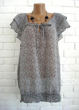 Легкая шифоновая блузка f&f uk20 большой размер в идеальном состоянии