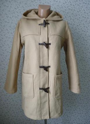 Демисезонное пальто h&m парка кэмел camel кофта бежевое под шерсть oversize размер m l xl прямой кро