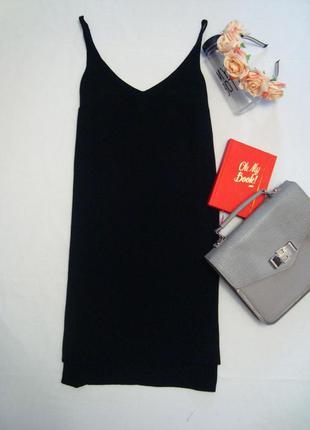 Стильное прямое платье на тонких беретелях с v-образным вырезом topshop