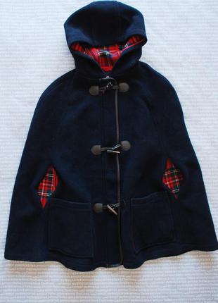 Пальто кейп в клетку с капюшоном разрезами для рук купить цена
