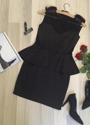 """Обалденное платье с баской""""top shop""""р.м(38)"""