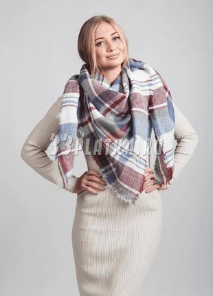 Красивый большой шарф палантин платок в клетку от бренда zara