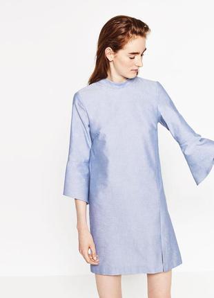 Голубое платье со стойкой zara, xs