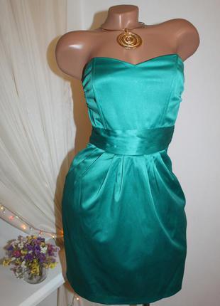 Платье бюстье h&m изумрудного цвета