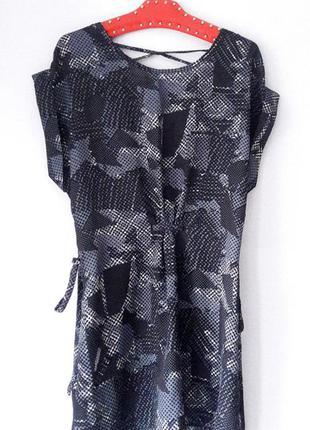 Платье туника серая m l размер шнуровка