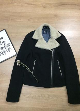 Пальто-косуха темно-синього кольору gap