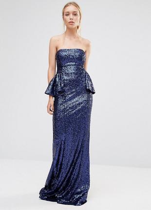 Нереальное шикарное вечернее выпускное платье в пол паетки
