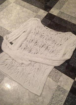 Белоснежный ажурный свитер 34-36р