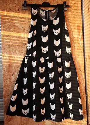 Платье с котиками h&m